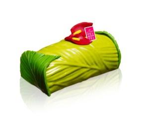 Arnaud Delmontel - Buche de Noël Rio. Mousse de lait de coco dés d'ananas, dacquoise coco - De 6,50 €/individuel à 52 €/ 8 personnes