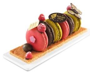 Casino - Bûche de macarons -Au rayon boulangerie-pâtisserie Prix : 17,95 euros (4/6 parts)