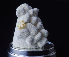 Park Hyatt Vendôme - Let it Snow... , se présente dans une boule à neige, rappelant l'enfance et la magie de Noël, et dévoile une montagne délicatement enneigée ... Mélange de texture et de saveurs, ce dessert de Noël est composé d'une mousse caramel à la fleur de sel, d'une pâte de fruits au citron vert et d'un biscuit dacquoise cuit à la vapeur de noix de coco ...18€/individuel