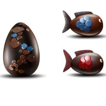 Fauchon : pêche gourmande. Poissons d'avril 15 cm (250 g) : 36 euros et Oeuf océan