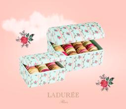"""5. Ladurée : la valeur sure. Ou comment ne pas se tromper. Avec leur adorable petit motif """"fleurs et blé"""" ces boîtes plairont à toutes les mamans. 35€"""